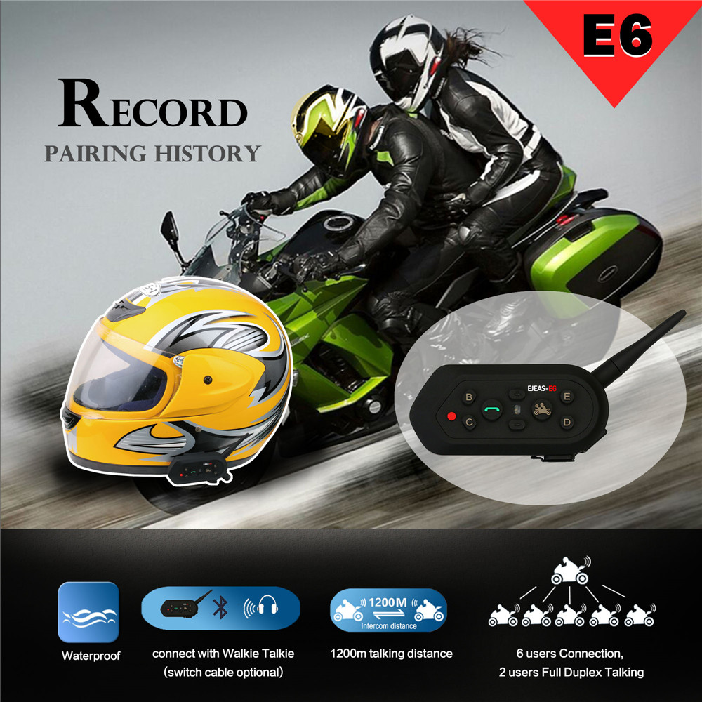 Full Duplex E6 Intercom Helmet Headset Bluetooth 3.0 AUX Input Noise Reduction Strong Expansion 6 Riders Team Intercommunicador