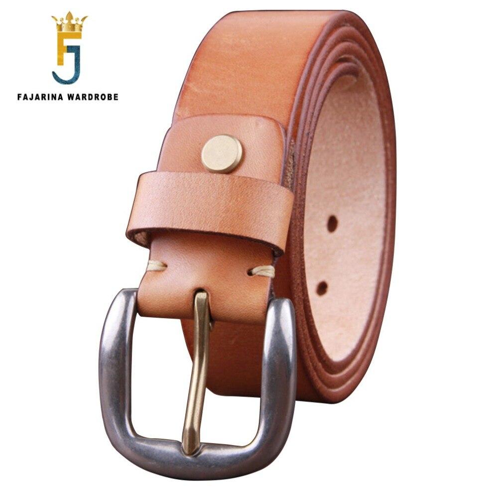 FAJARINA Men s Luxury Retro Genuine Mens Stainless Steel Pin Buckle Belts for Men Casual Cow