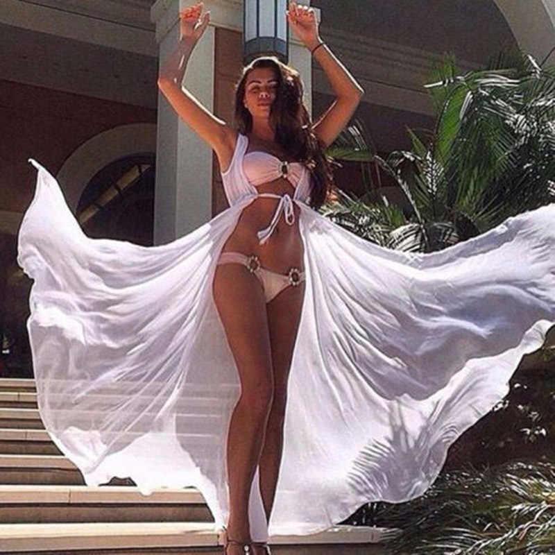 2019 النساء طويل الشاطئ الأبيض تونك الشيفون مثير شاطئ تونك غطاء السباحة أكمام سيدة السباحة ملابس الشاطئ التستر بيكيني غطاء