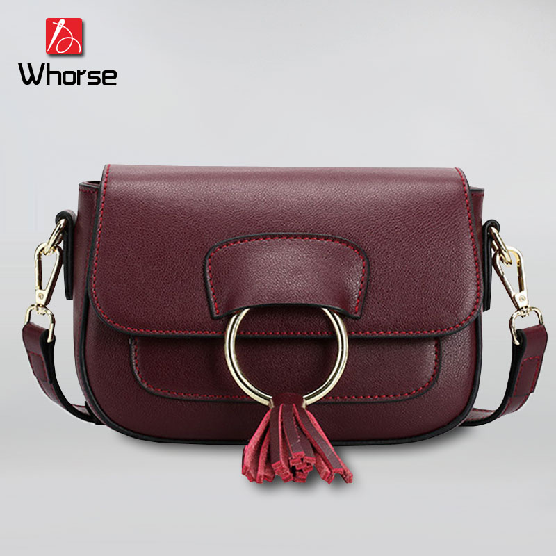 [WHORSE] Cowhide Genuine Leather Women Messenger Bags Tassel Crossbody Bag Female Fashion Shoulder Bags for women Small W0816