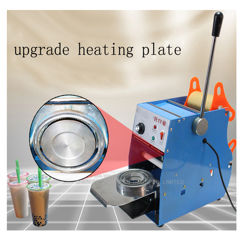 1piecetable type automatic cup sealing machine,milk drink cup sealer,PE,PP,Paper cup heat sealing machine.220V/50Hz