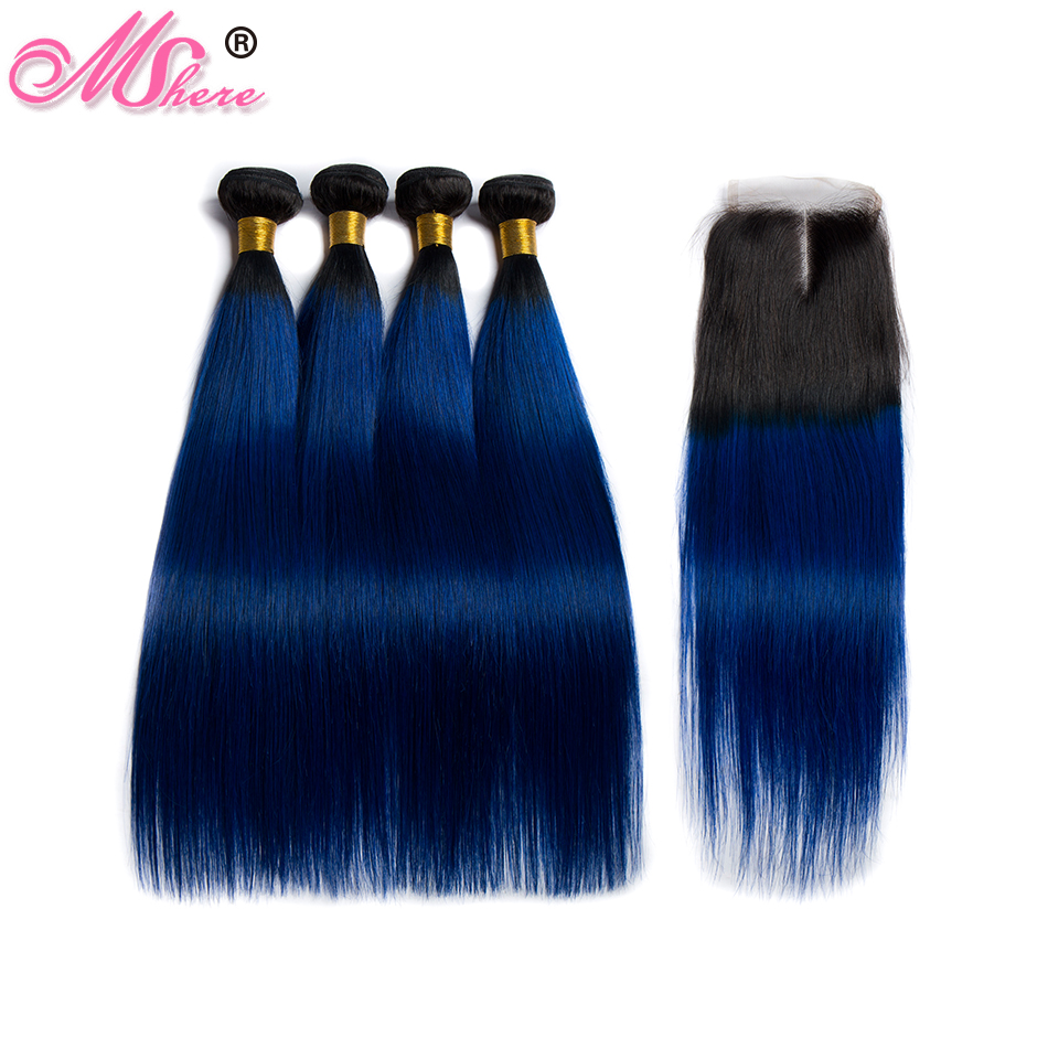 Mshere Straight Ombre Hair 3 /4 Bundles With Closure 1B / Blue Malaysia Human Hair Weave Bundles With Closure Remy Hair