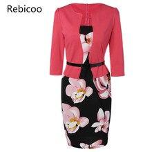 Pencil Office Dress 5 Colors Plus Size Jacket Look Floral Print Women Vestidos Mujer Robe Slim Bodycon Dresses