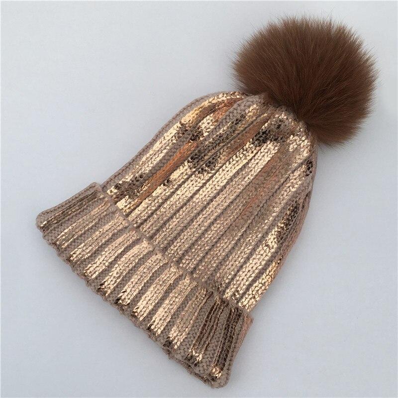 natural 12cm Raccoon Fur Pompon Hat For Women Knitting Warm Winter Hats Female metallic Pink   Skullies     Beanies