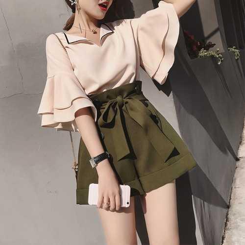 여름 한국 플레어 슬리브 여성 세트 패션 세련 된 높은 허리 Drawstring 넓은 다리 반바지 쉬폰 두 조각 세트 여성 정장