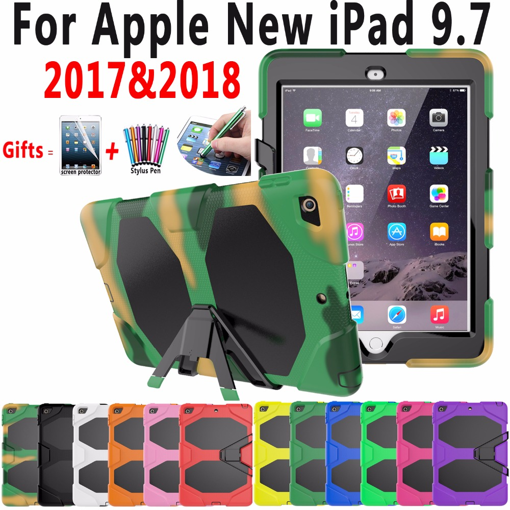Premium Case for Apple New iPad 9.7 2017 2018 A1822 A1823 A1893 Cover Armor Silicone Heavy Duty Case with Stand Screen Protector nice flexible tpu silicone case for apple new 2017 ipad 9 7 cover protect smart cover partner clear transperent bottom back case