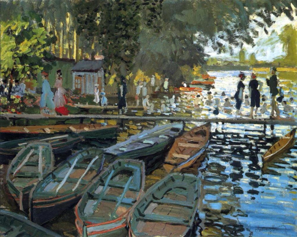 High quality Oil painting Canvas Reproductions Bathers at La Grenouillere (1869)  By Claude Monet hand paintedHigh quality Oil painting Canvas Reproductions Bathers at La Grenouillere (1869)  By Claude Monet hand painted