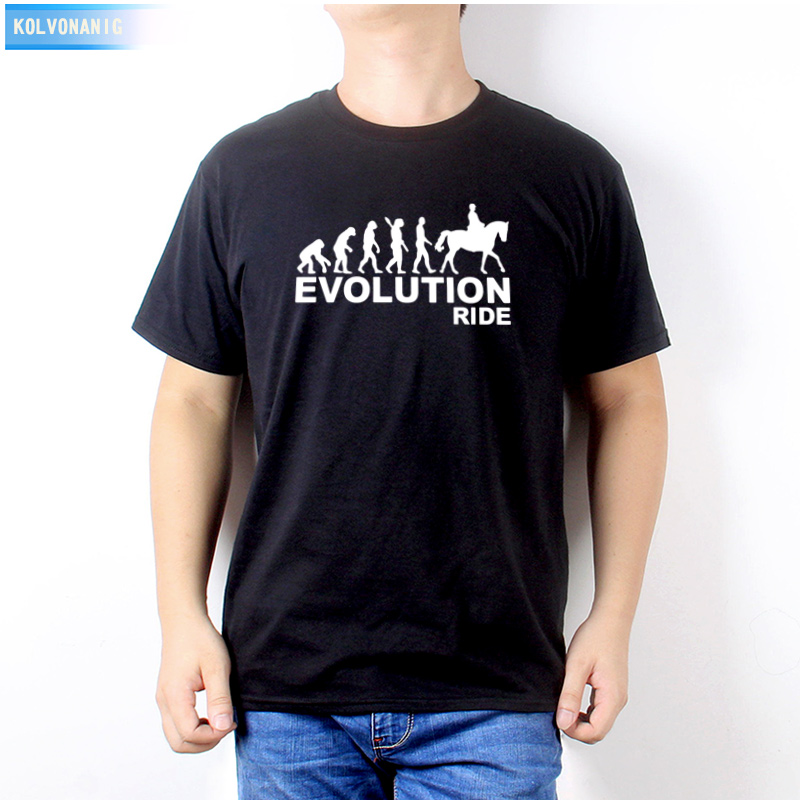 2019 Summer Dress New Human Eevolution Ride Horse Printed Men 39 s T Shirt Short Sleeve O Neck Casual T Shirt crop top Tees Down in T Shirts from Men 39 s Clothing