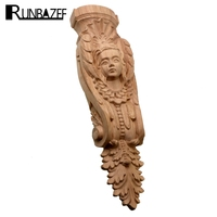RUNBAZEF Character Exquisite Classic Rubber Wood Carved Applique Furniture Natural Decal Color Home Decoration Accessories