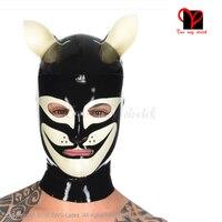 Sexy látex capuzes com cat ouvidos boca realista máscaras de borracha gummi chapelaria plus size capa de látex tt-018