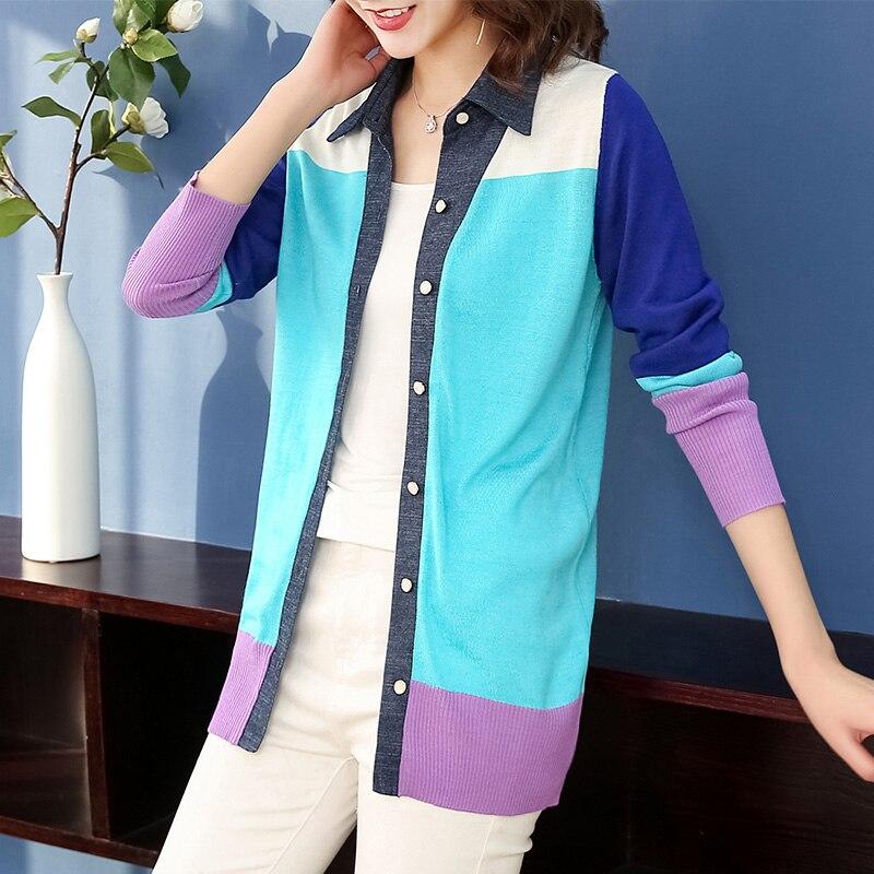 XL marque tricot Cardigan 2019 printemps automne femmes Cardigan nouvelle mode lac bleu revers Cardigan simple boutonnage chandail femme