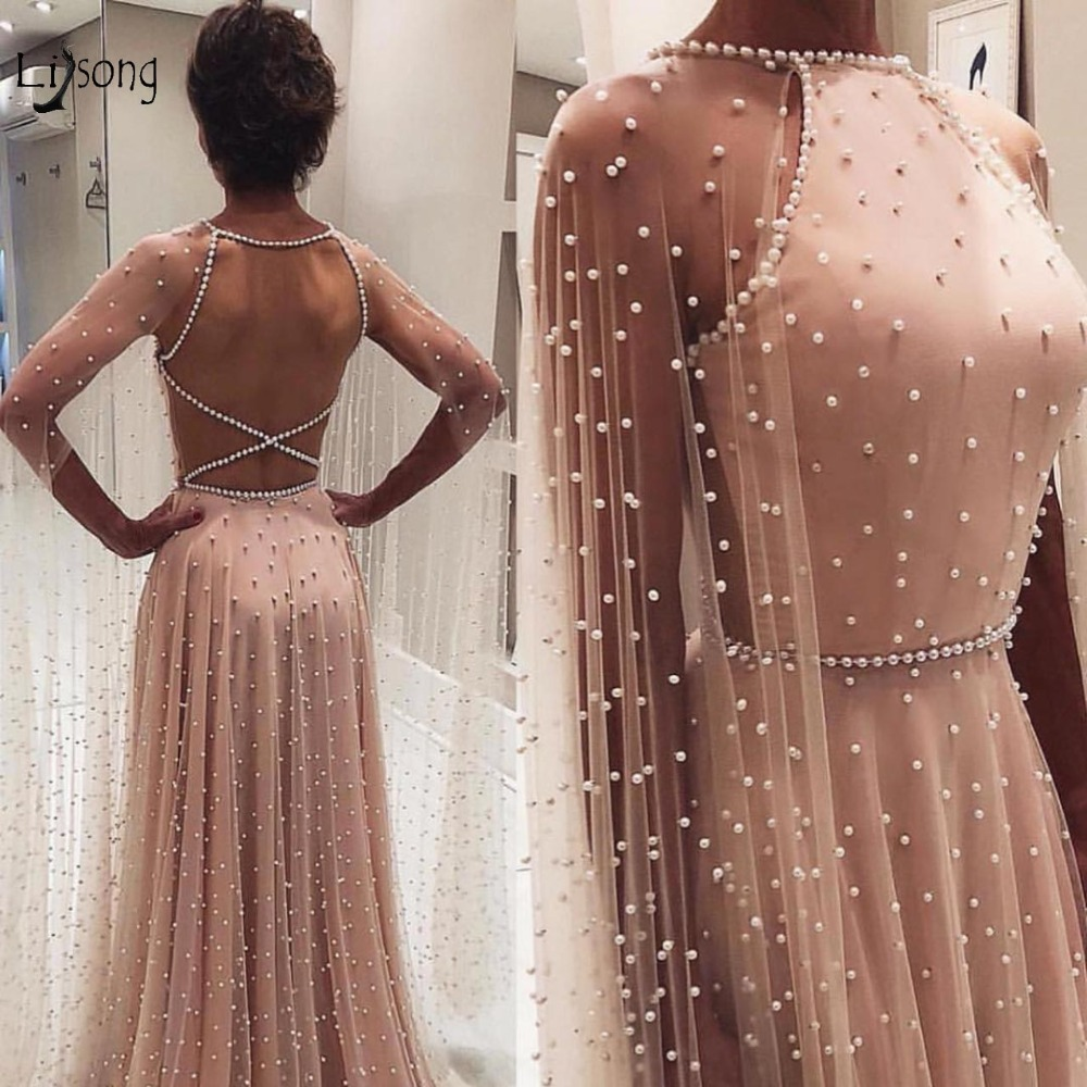 Fashion 2019 Pearls Champagne A line Evening Gowns With Long Cloak Sleeves Sexy Backless Long Prom