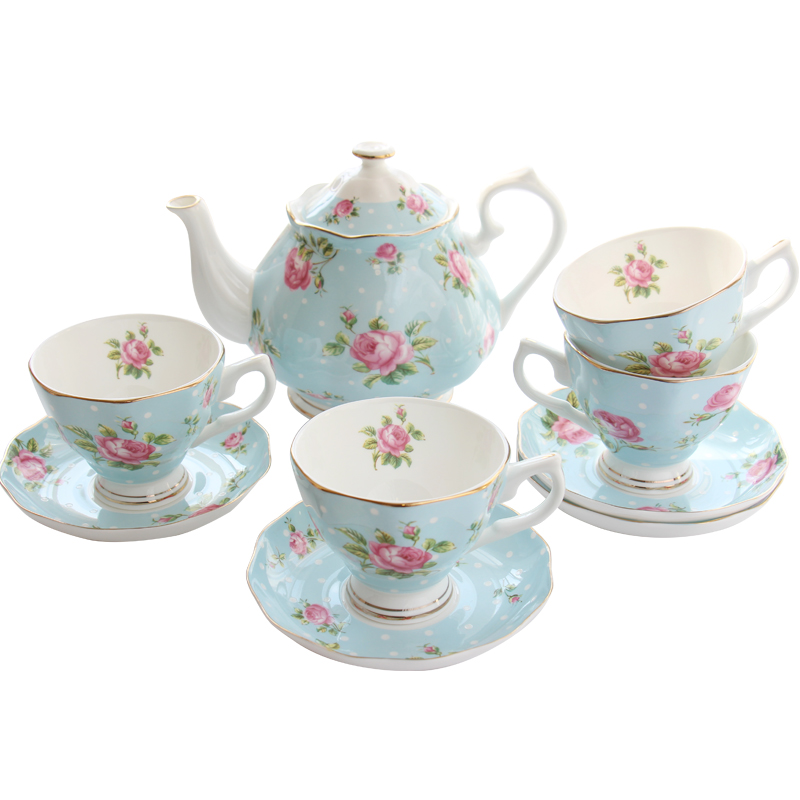European-style <font><b>coffee</b></font> <font><b>cup</b></font> <font><b>set</b></font> home ceramic black tea pot bone china afternoon tea 1 <font><b>coffee</b></font> pot 4 <font><b>cup</b></font> saucer for 4 people image
