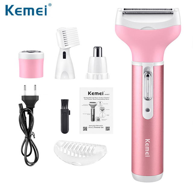 Kemei KM-6637 Electric Shaver 4 in 1 Rechargeable Hair Trimmer Women Hair Removal Machine Epilator Eyebrow Nose Trimmer Razor 1
