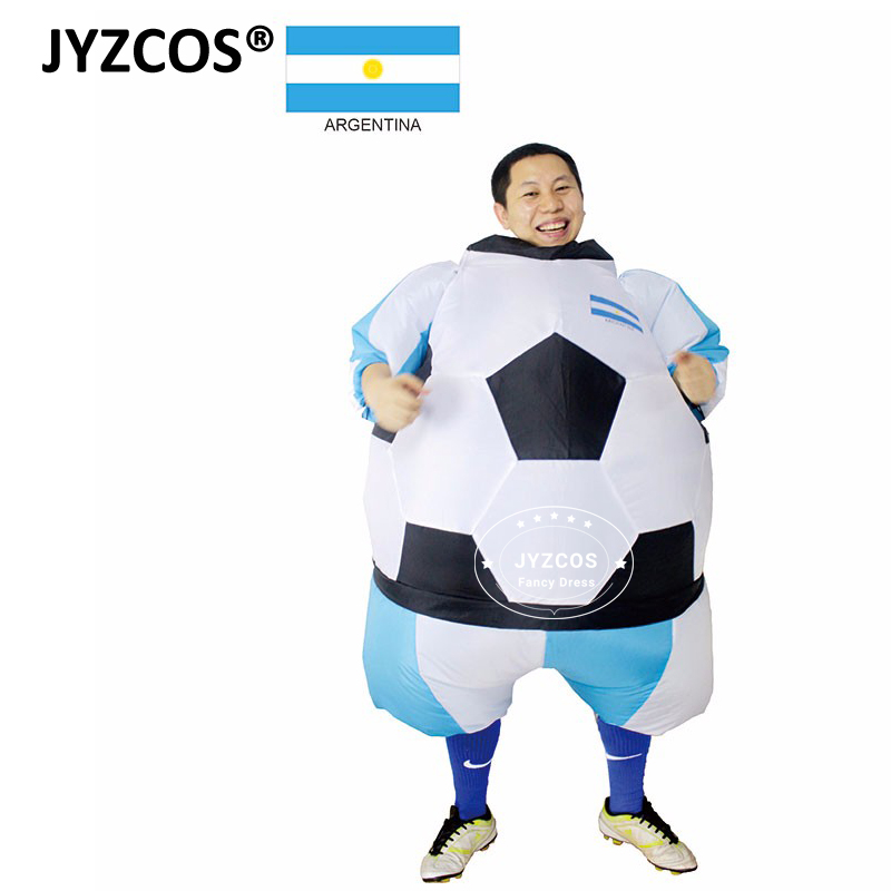 Argentina Inflatable Football Soccer Costume South America Player Outfit Party Club Fancy Dress Blow Up Carnival Suits