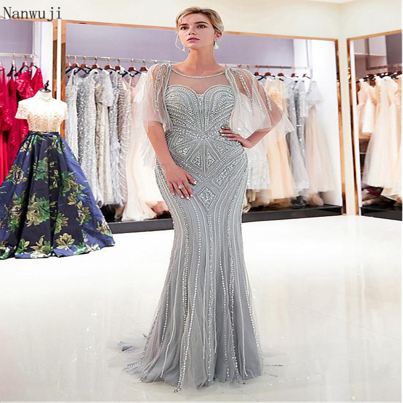 Beauty Crystal Beading Mermaid Grey  Evening Dresses Cap Sleeve Sparkly Gown