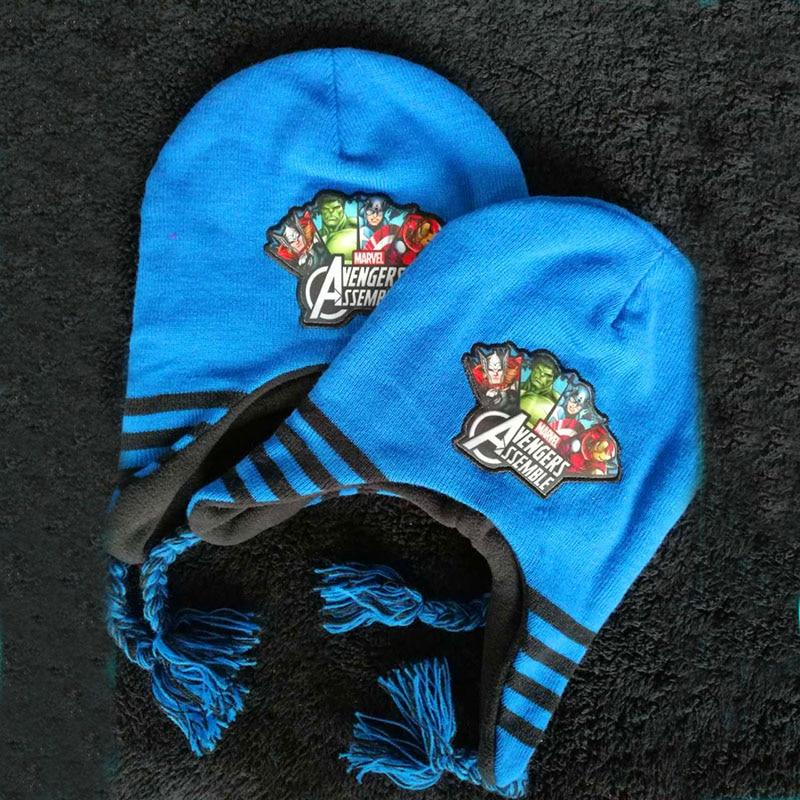 Halloween Hot hat winter kids Super hero hats cartoon hat headgear for Boys thickening warm Protect your ears Hat