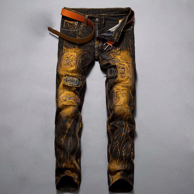 Hot Sale Vintage Yellow Straight Jeans Men Ripped Hole Jeans Trousers Casual Patchwork Jeans Denim Beggar Motorcycle Jeans