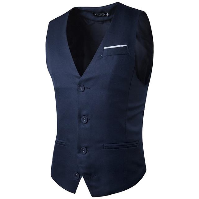 Men Sleeveless Jacket Dress Vest Coat Male Clothes Slim Fit Solid Suit Groom Vests Business Social Bar Wedding Waistcoat Z10