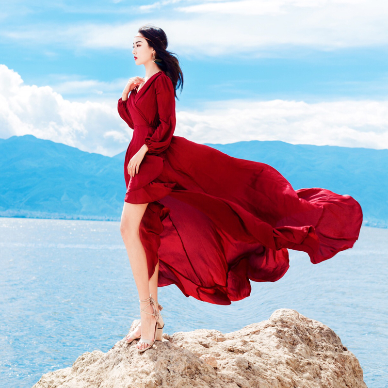 Partie 2018 Lanterne Tafforda Vintage Lady V Manches Élégant Robe Nu Sexy Bohème Automne Dos Nouveau Vacances cou Rouge Solide g6zq6xCw