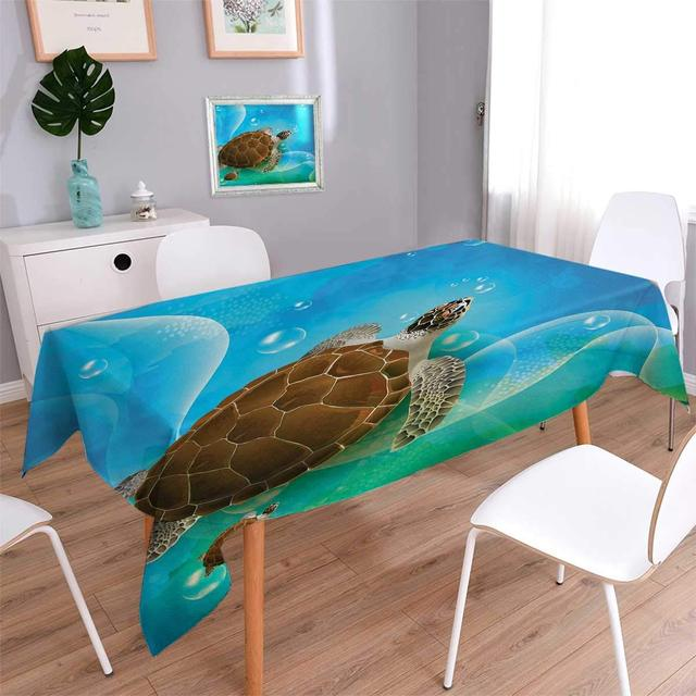 Ocean Customized Tablecloth Turtle Family Swimming In Ocean Bubbles  Underwater World Cartoon Fun Artwork Table Cover
