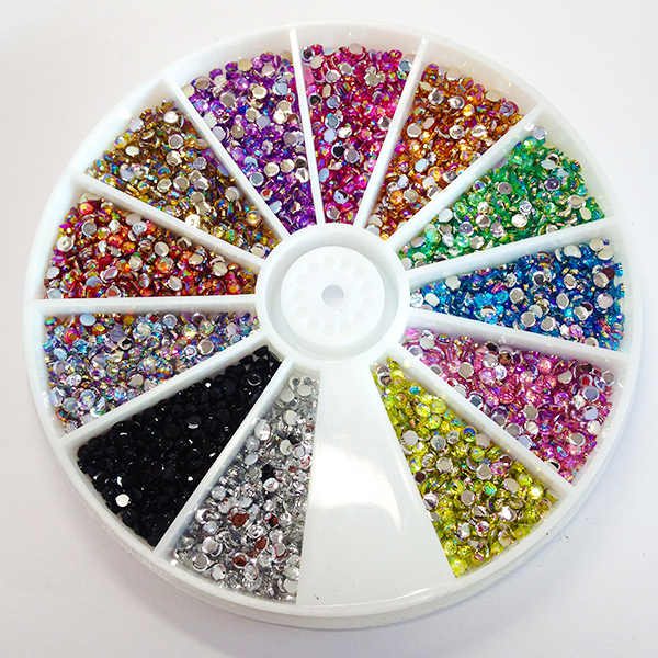 Glitter Decoration 2mm Acrylic Material Mixed 12 Colors Crystal AB Flatback Glue on 3d Nail Art Rhinestones