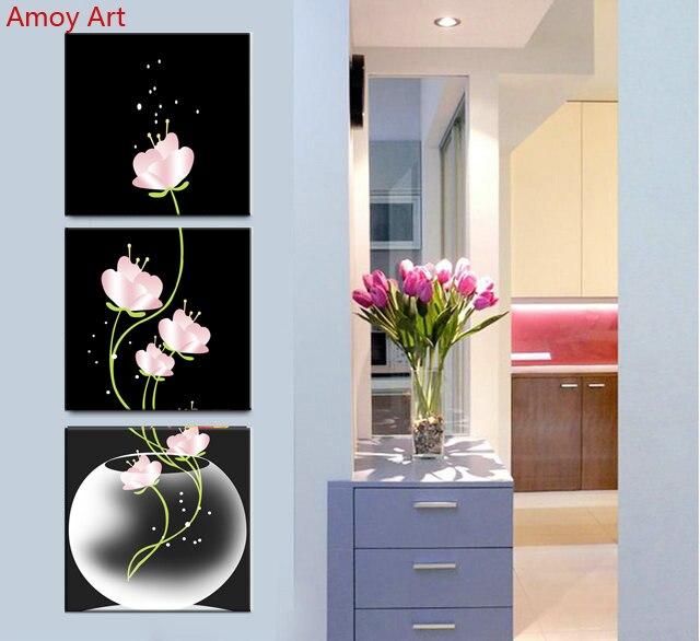 3 Pièce Toile Peinture vertical mur art bouteille fleur Décor moderne Peintures Pour Le Salon Chambre Mur Art No cadre
