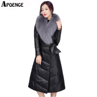 APOENGE Women Winter Long Jacket Belt Plus Size Femme Elegant PU Faux Leather Large Fur Collar