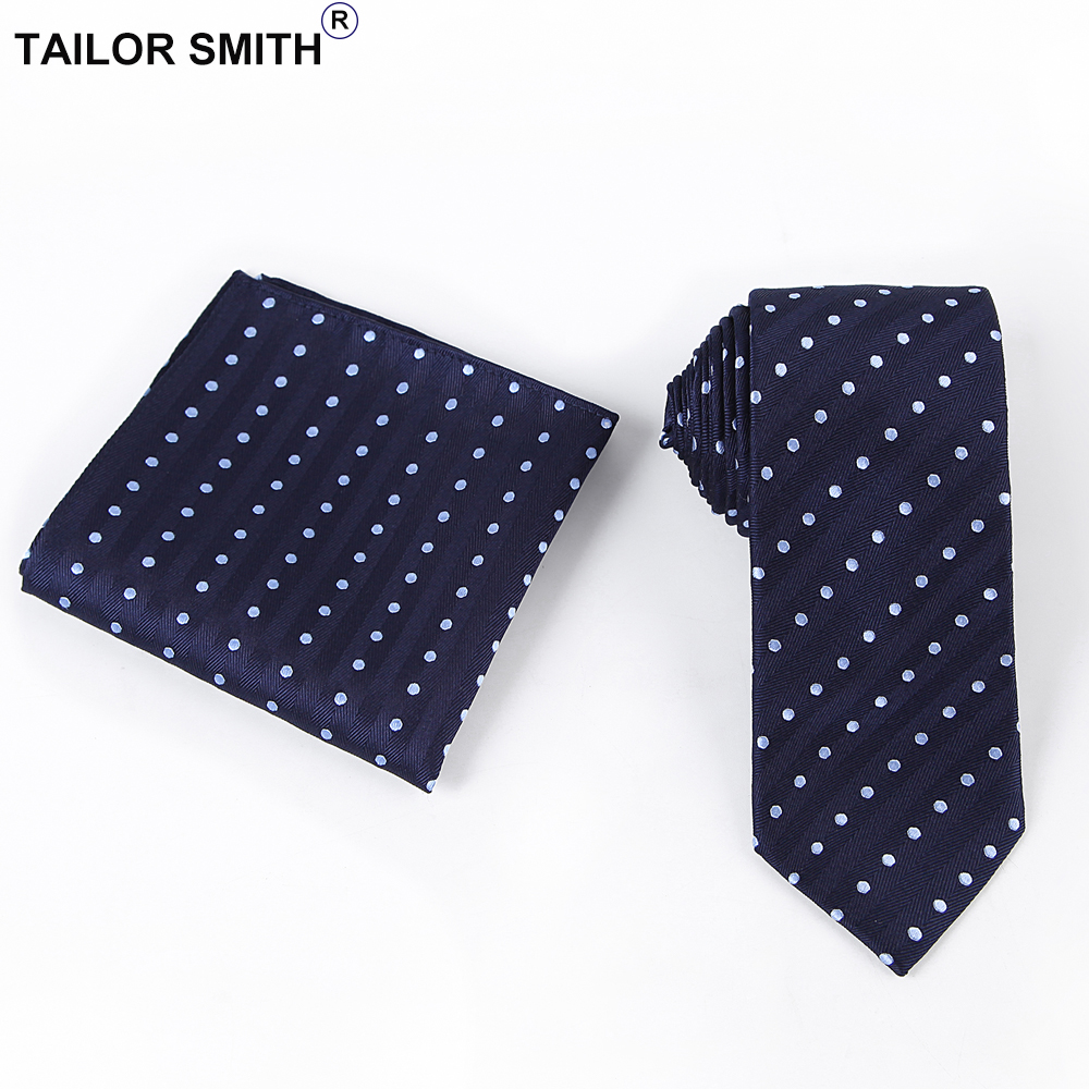Cravatta Tailor Smith con tasca quadrata in seta blu navy a pois - Accessori per vestiti