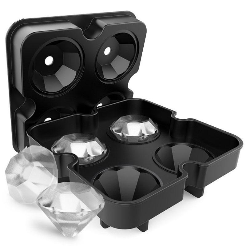 NEUE 4 Hohlraum Diamant Form 3D Eiswürfelform Maker Bar Party Silikon Trays Schokoladen-form Küche Werkzeug, ein Großes Geschenk