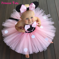 High Quality Minnie Dress Girl Kids Birthday Party Dress Tulle Baby Girls Polka Dots Cartoon Tutu