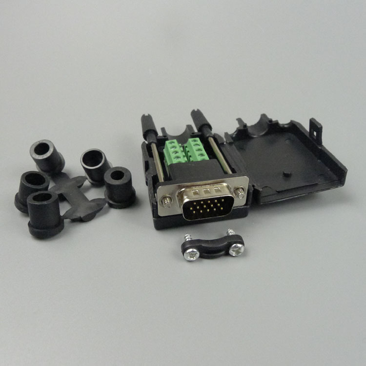 New style 3+6 VGA male Connector back side screw connectors to support DIY VGA cable