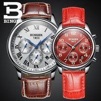 Genuine Switzerland BINGER Brand Men Women Lovers couple automatic mechanical self wind watch casual waterproof stainless steel
