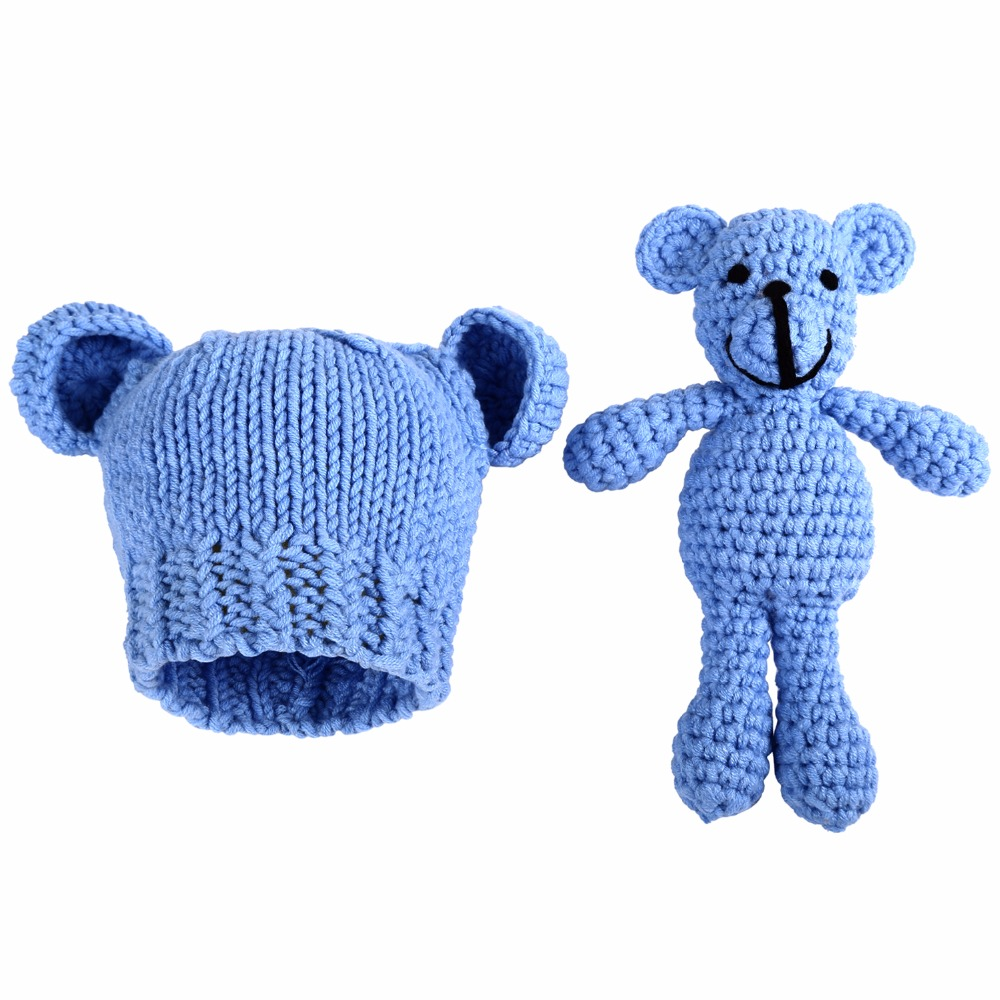 Hot Baby Hat Cute Lovely Animal Bear Handmade Newborn Photography Props Baby Cap Beanie Infantil Baby Accessories