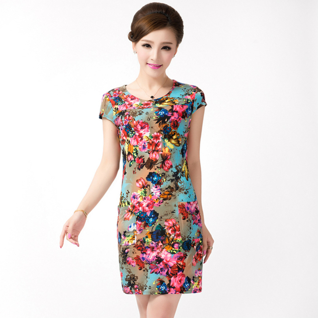 Women Dress Plus Size Flower Summer Dresses Short Sleeve White