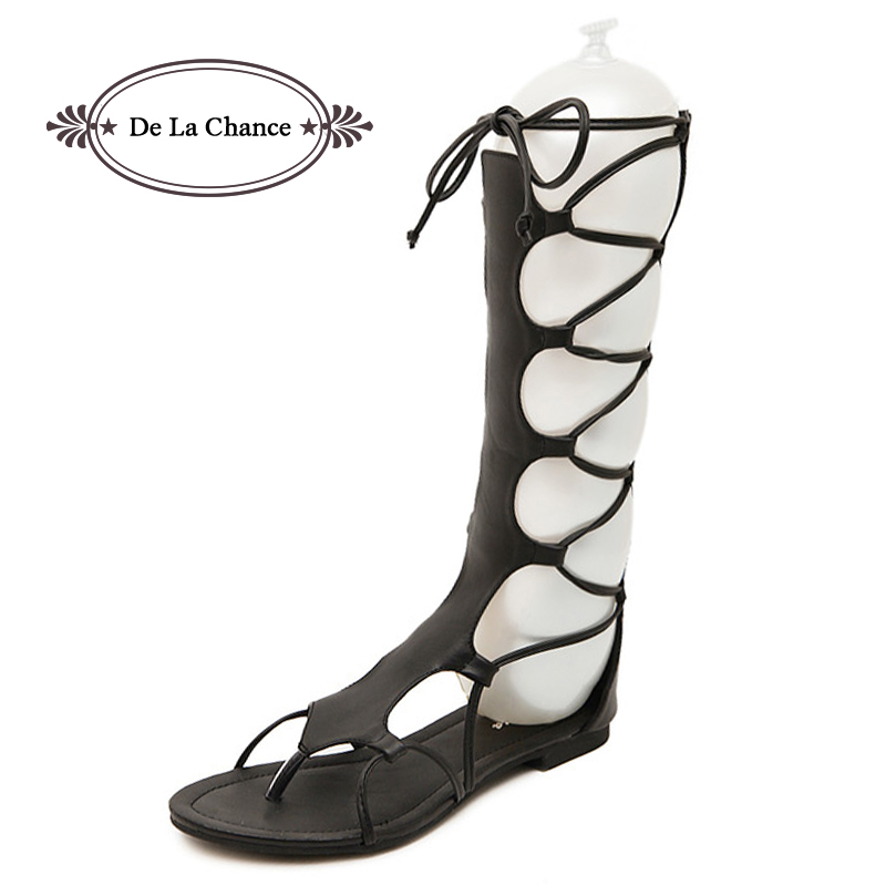 Brand Designer Knee High Gladiator Sandals Boots Leather Cutouts Lace Up Flats Gladiator Sandals Women Summer Shoes Black Brown  handmade high quality 2017 summer new knee high boots gladiator women sandals boot real leather flats casual shoes black size 41