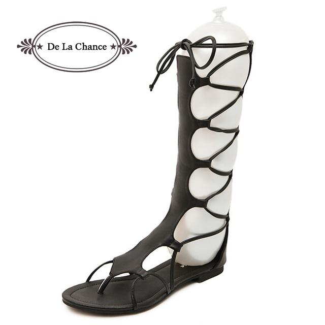 75d4b76de51 Brand Designer Knee High Gladiator Sandals Boots Leather Cutouts Lace Up  Flats Gladiator Sandals Women Summer Shoes Black Brown