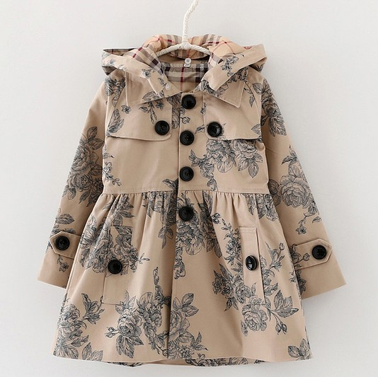 2 3 4 6 8 10 12Y Spring Children Trench Girls Outerwear fashion Print Girl Jackets