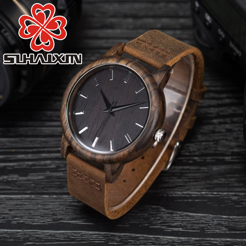 SIHAIXIN   Black  Wood Watch Men Wrist Watch Nature Wooden Luxury Leather Quartz As Male Clock Bamboo Hand-made Reloj De Madera ultra luxury 2 3 5 modes german motor watch winder white color wooden black pu leater inside automatic watch winder