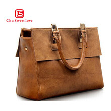 European and American style retro handbag ladies Messenger bag big temperament leather cow two-layer shoulder bag handbag