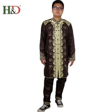H&D african men clothing mens traditional clothes Material robe bazin riche africano de bordado hombres outfit set tops pant
