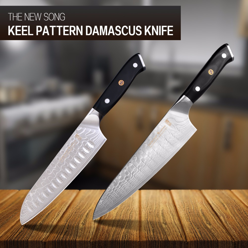 Uncategorized How To Sharpen Kitchen Knives popular sharpen santoku knife buy cheap lots song keel pattern chef 45 layers damascus steel aus 10 g10 handle blade