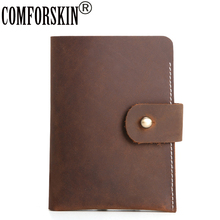 COMFORSKIN Guaranteed Genuine Leather Premium Crazy Horse Men Wallet New Arrivals European American Vintage Hand-Made Male Purse цена