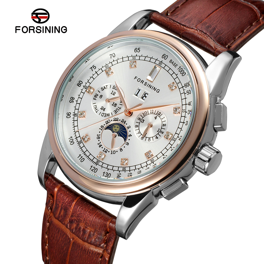 FSG319M3T4 Forsining Automatic self-wind dress men moon phase watch with complete calendar free shipping with gift box цена