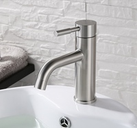 304 Stainless Steel Bathroom Basin Faucet Nickel Brushed Single Handle Soild Basin Mixer Hot Cold Toilet Water Tap Deck Mounted