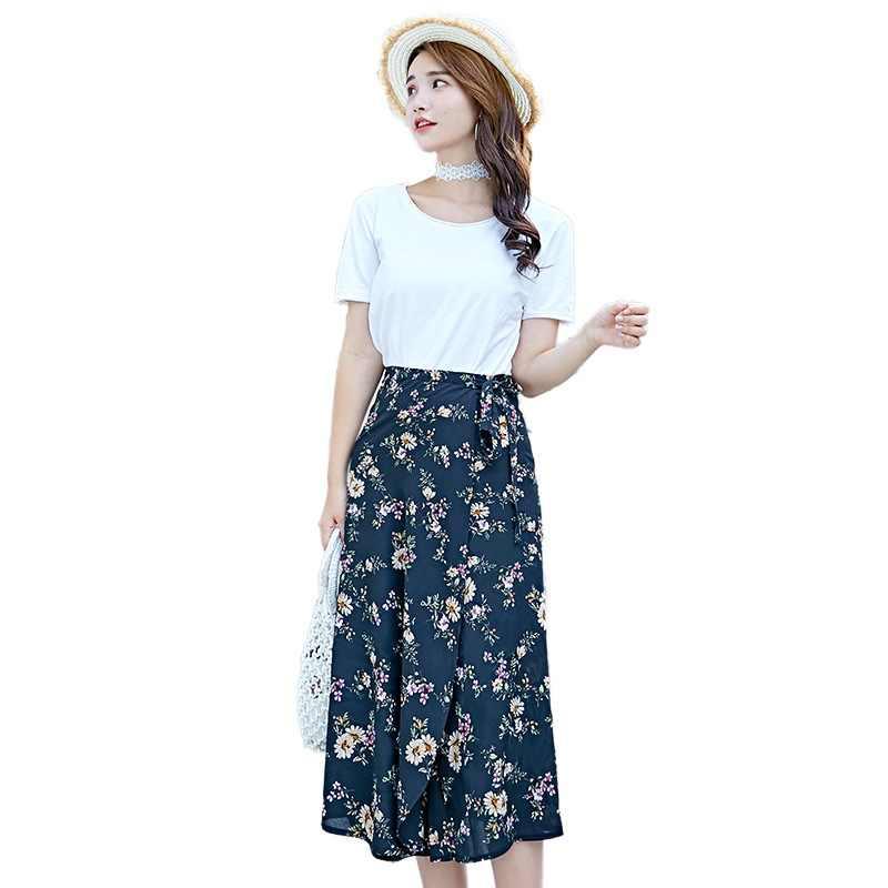 165588a5f8 2018 nuevas mujeres Bohemia Faldas impresión Floral playa falda Casual Slim  Wrap Floral alta cintura vadim