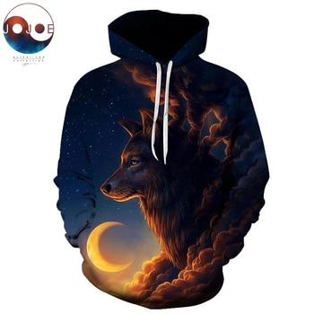 Night Guardian by JoJoesArt Wolf 3D hoodies Men Sweatshirt