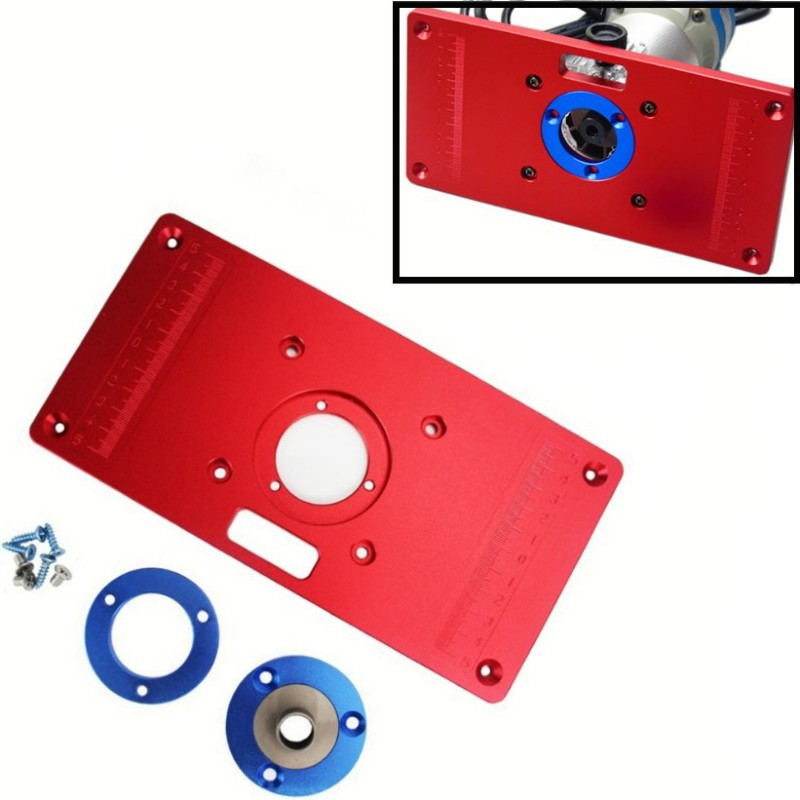 Universal Aluminum Router Table Insert Plate W/ 2 Router Insert Rings For Woodworking Benches Router Red