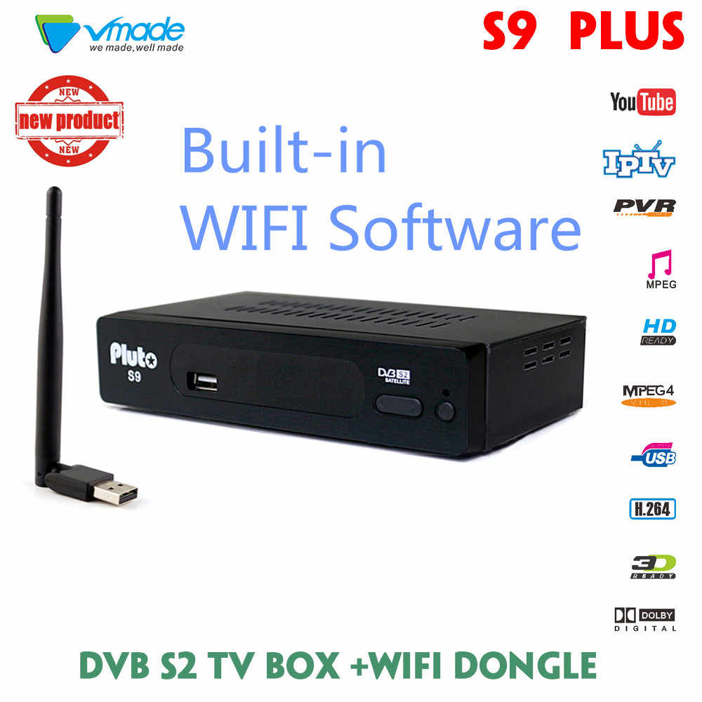 Vmade Newest DVB S9 PLUS Set Top Box H 264/MPEG-4 Built-in WIFI Software  Support install CCCAM/IPTV DVB S2 HD Satellite Receiver