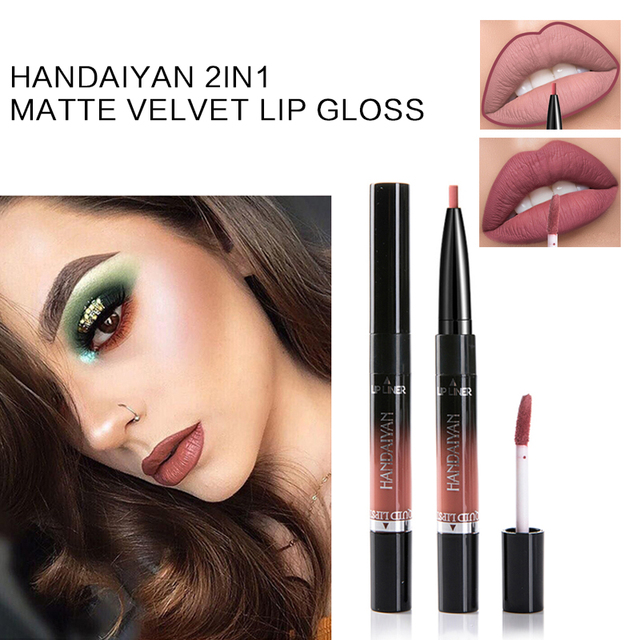 HANDAIYAN 2In1 Matte Velvet Lip Gloss Dual Use Lipstick Waterproof Lasting Nude Sexy Red Pigments Double-end Lipstick TSLM2